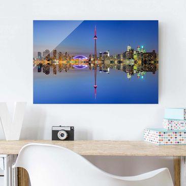 Produktfoto Glasbild - Toronto City Skyline vor Lake Ontario - Quer 2:3