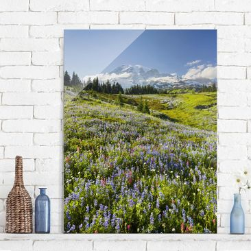 Product picture Print on Glass - Mountain meadow with...