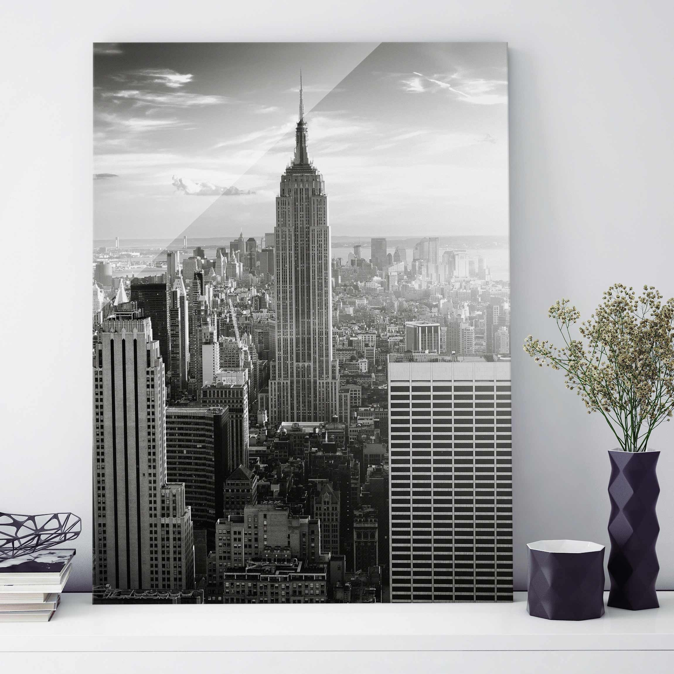 glasbild new york manhattan skyline hoch 4 3. Black Bedroom Furniture Sets. Home Design Ideas