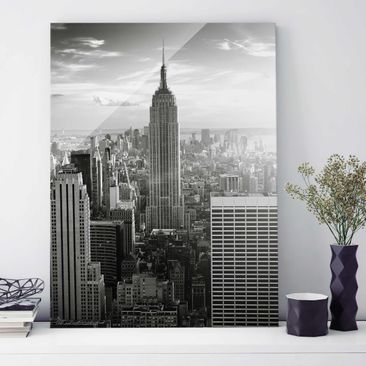 Produktfoto Glasbild New York - Manhattan Skyline - Hoch 4:3