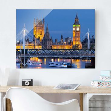 Produktfoto Glasbild - Big Ben und Westminster Palace in London bei Nacht - Quer 3:4