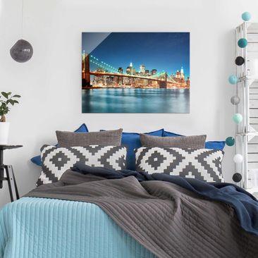 Product picture Glass Print - Nighttime Manhattan Bridge...