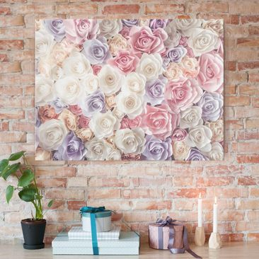 Product picture Glass Print - Pastel Paper Art Roses -...
