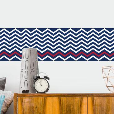 Produktfoto Bordüre selbstklebend - Marineblau ZickZack Bordüre - Maritimstil Wandbordüre