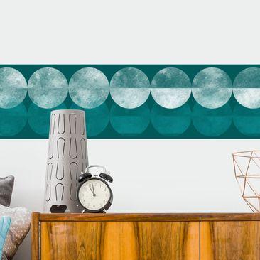 Produktfoto Bordüre selbstklebend - Petrol Punktebordüre - Retrostil Wandbordüre