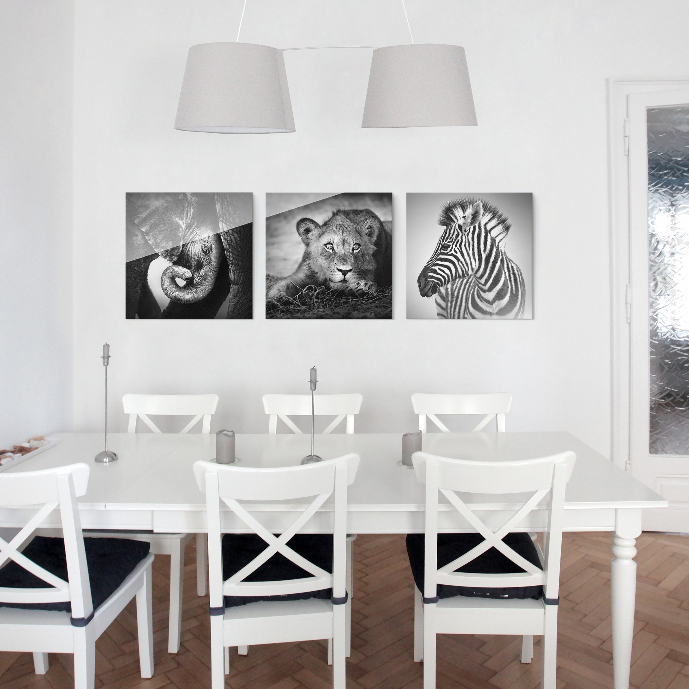 glasbild mehrteilig babytiere 3 teilig. Black Bedroom Furniture Sets. Home Design Ideas
