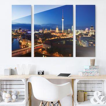 Produktfoto Glasbild mehrteilig - Fernsehturm bei Nacht 3-teilig