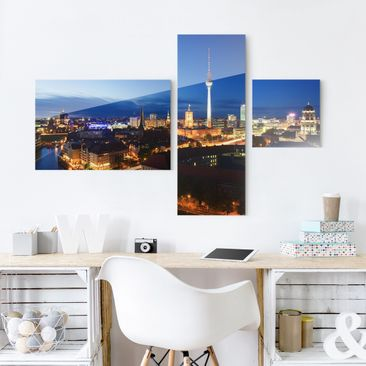 Product picture Glass Print Collage - TV Tower at night...