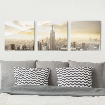 Product picture Print on Glass Set - Manhattan Dawn -...