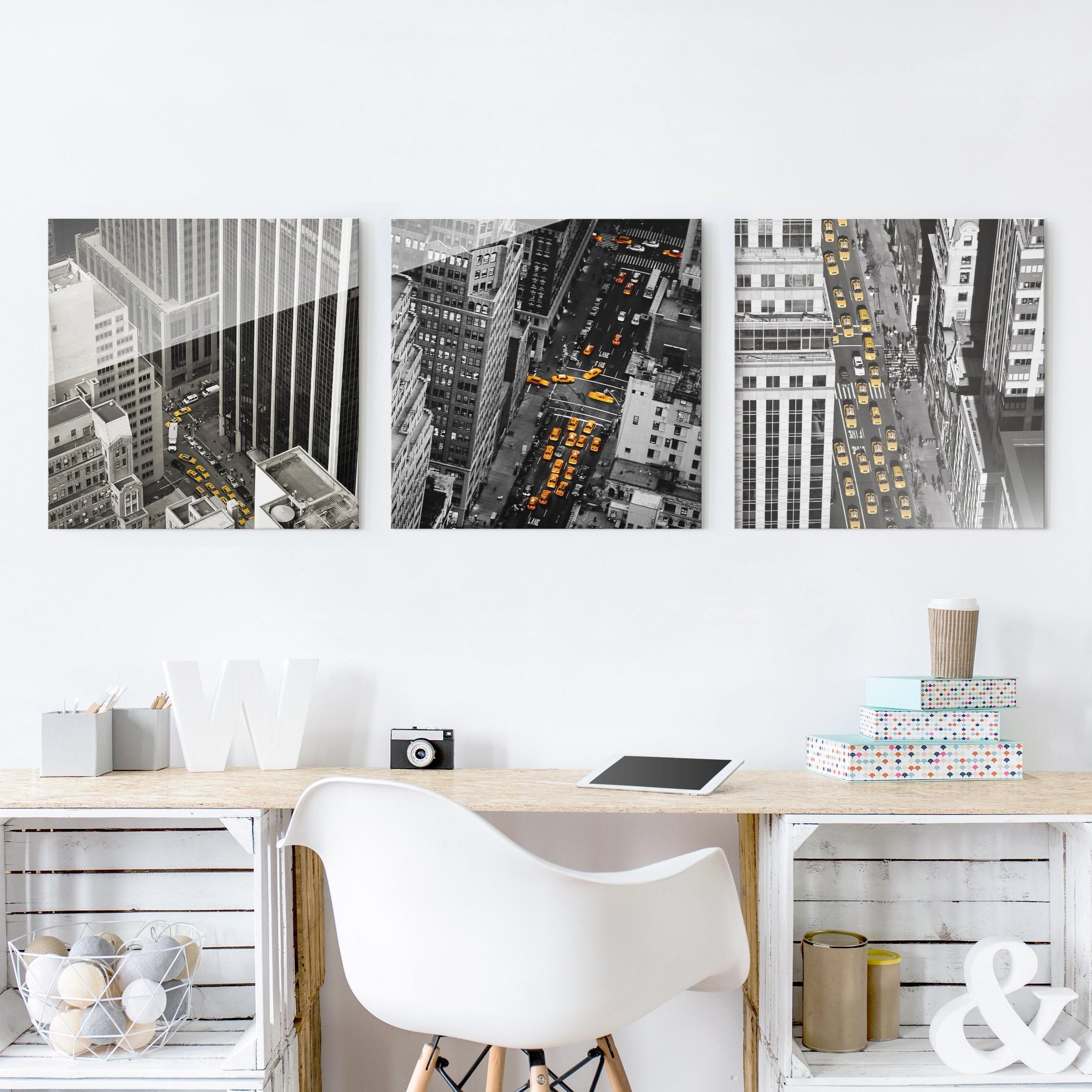 glasbild mehrteilig new york taxis 3 teilig. Black Bedroom Furniture Sets. Home Design Ideas