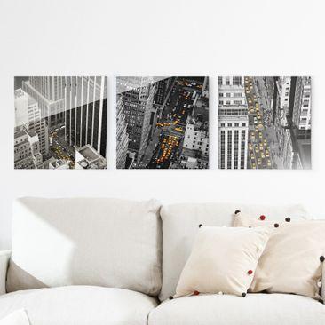 Produktfoto Glasbild mehrteilig - New York Taxis 3-teilig