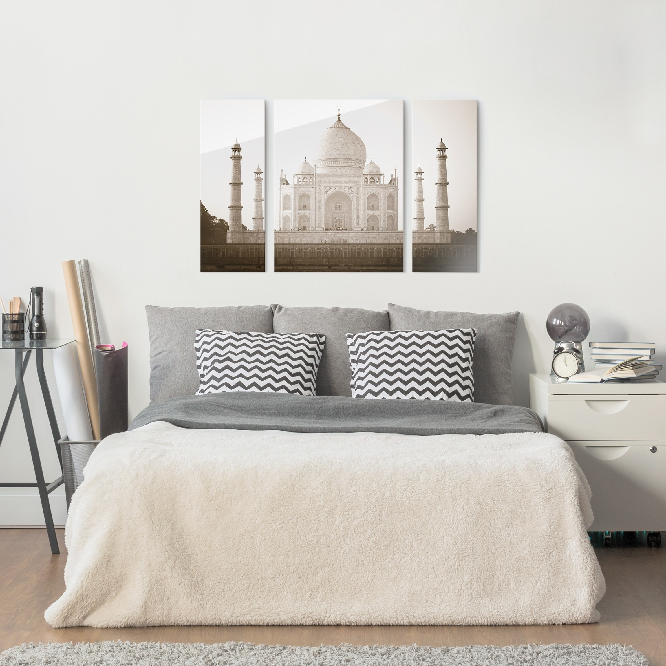 glasbild mehrteilig taj mahal 3 teilig. Black Bedroom Furniture Sets. Home Design Ideas