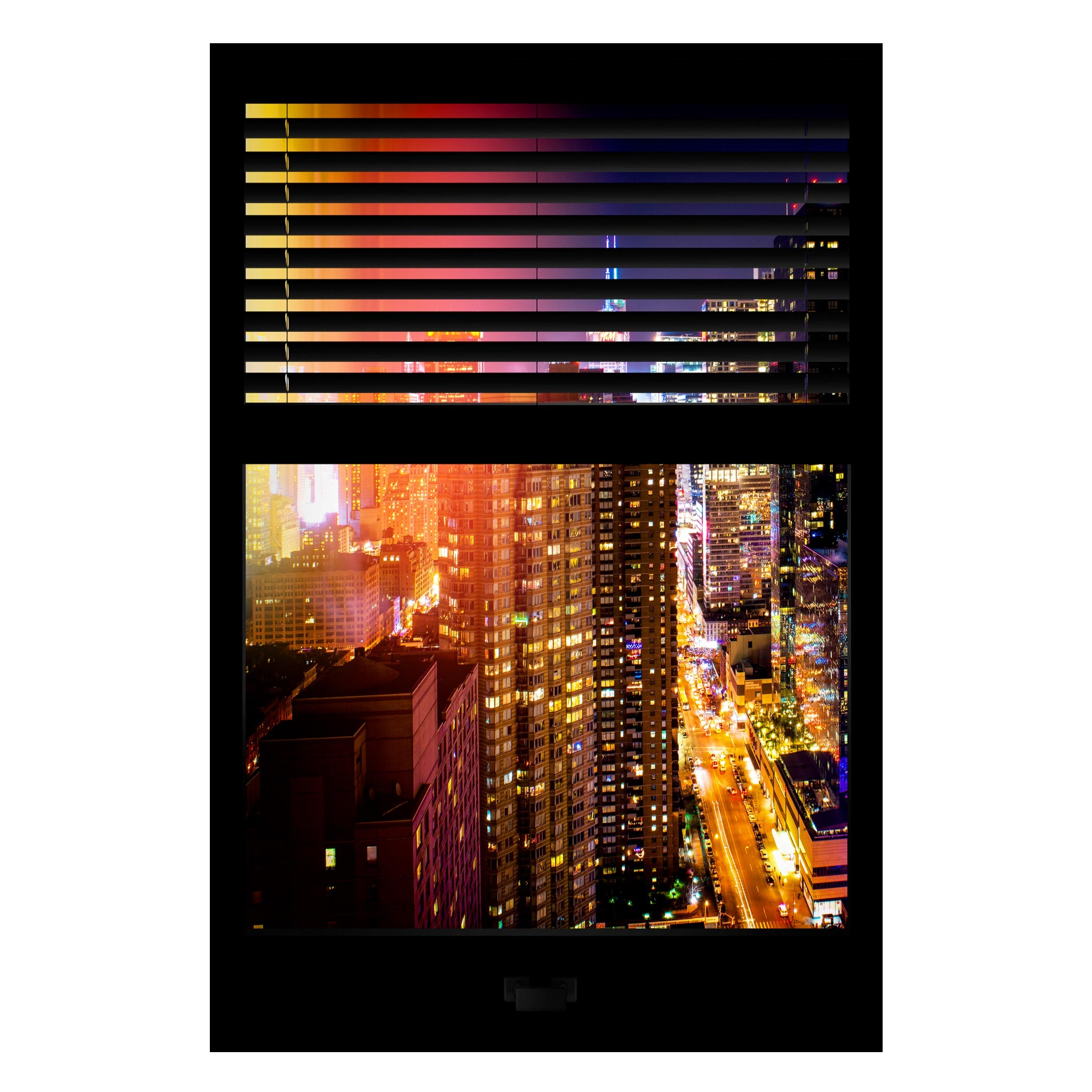 Lavagna Magnetica Window Blinds Manhattan At Night