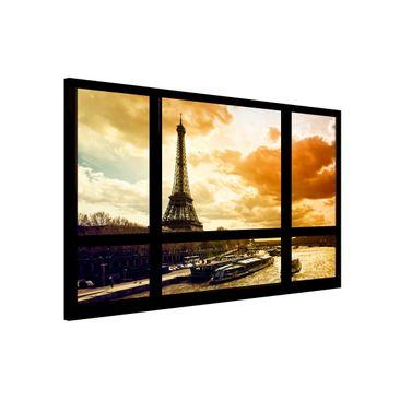Produktfoto Magnettafel - Fensterblick - Paris Eiffelturm Sonnenuntergang - Memoboard Quer