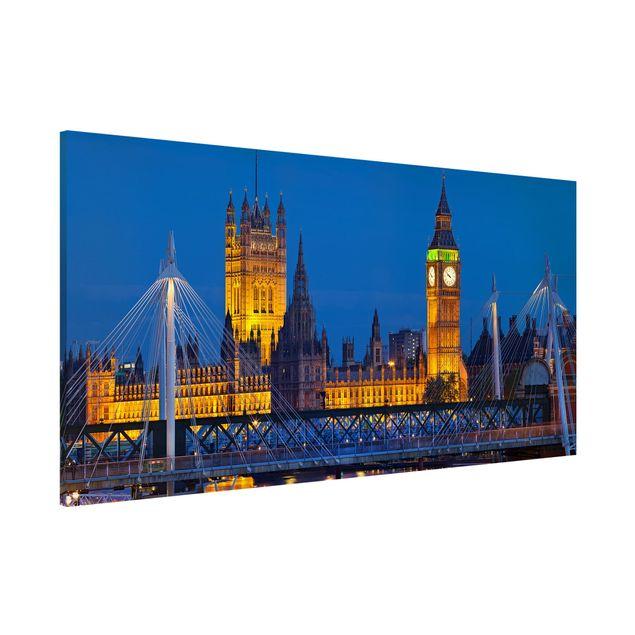 Produktfoto Magnettafel - Big Ben und Westminster Palace in London bei Nacht - Memoboard Panorama Quer