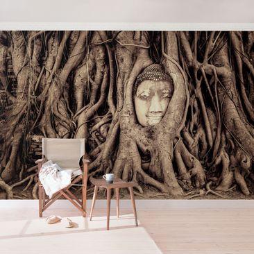 Produktfoto Fototapete Buddha selbstklebend - Buddha in Ayutthaya von Baumwurzeln gesäumt in Braun
