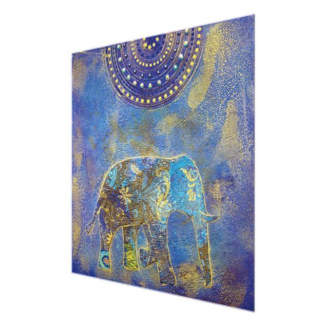 Produktfoto Glasbild - Elephant in Marrakech - Quadrat 1:1