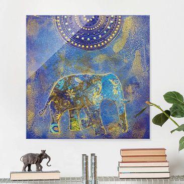 Immagine del prodotto Stampa su vetro - Elephant in Marrakech - Quadrato 1:1