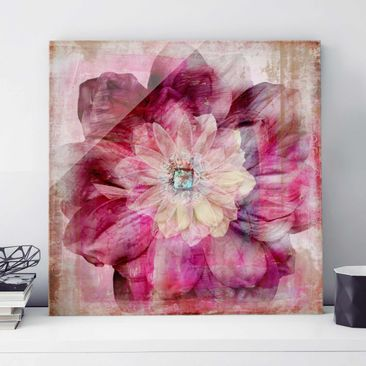 Product picture Print on Glass - Grunge Flower - Glass...