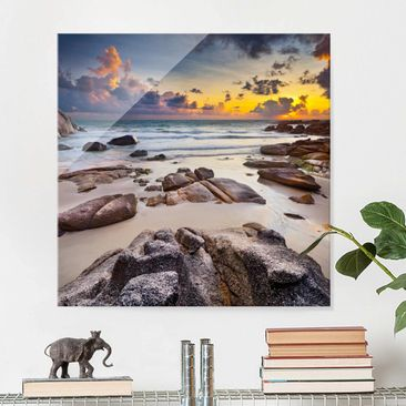 Produktfoto Glasbild - Strand Sonnenaufgang in...