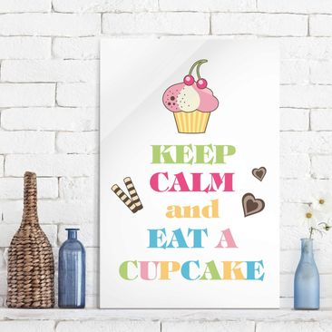 Produktfoto Glasbild - No.EV71 Keep Calm And Eat A Cupcake Bunt - Hoch 3:2
