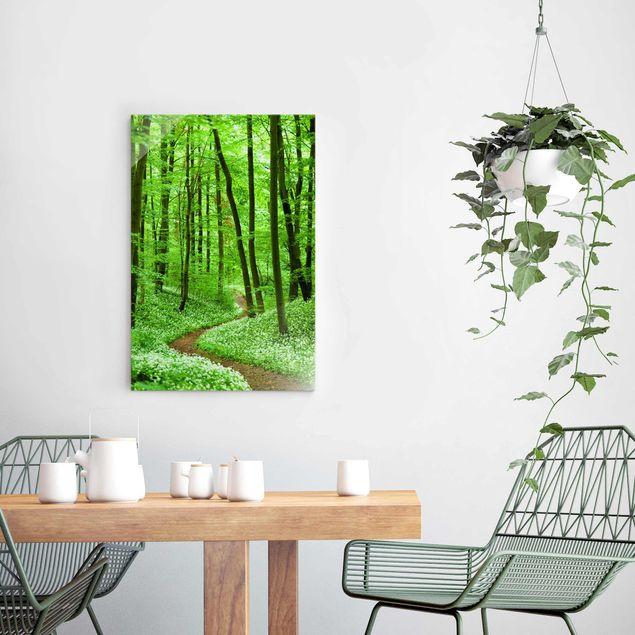 Produktfoto Glasbild - Romantischer Waldweg - Hoch...