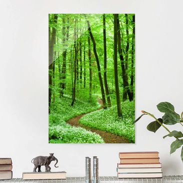 Product picture Print on Glass - Romantic Forest Track -...