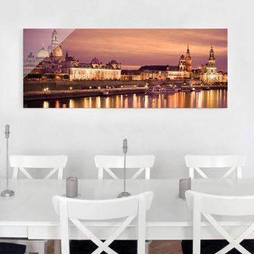 Produktfoto Glasbild - Canalettoblick Dresden - Panorama Quer