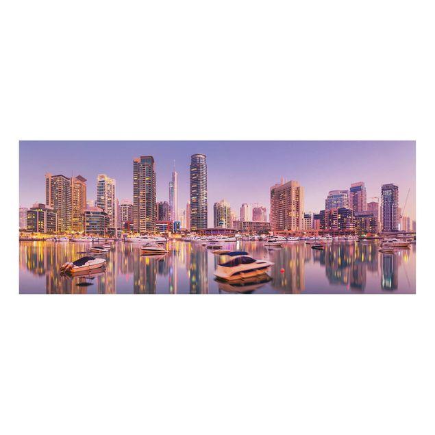 Produktfoto Glasbild - Dubai Skyline und Marina - Panorama Quer