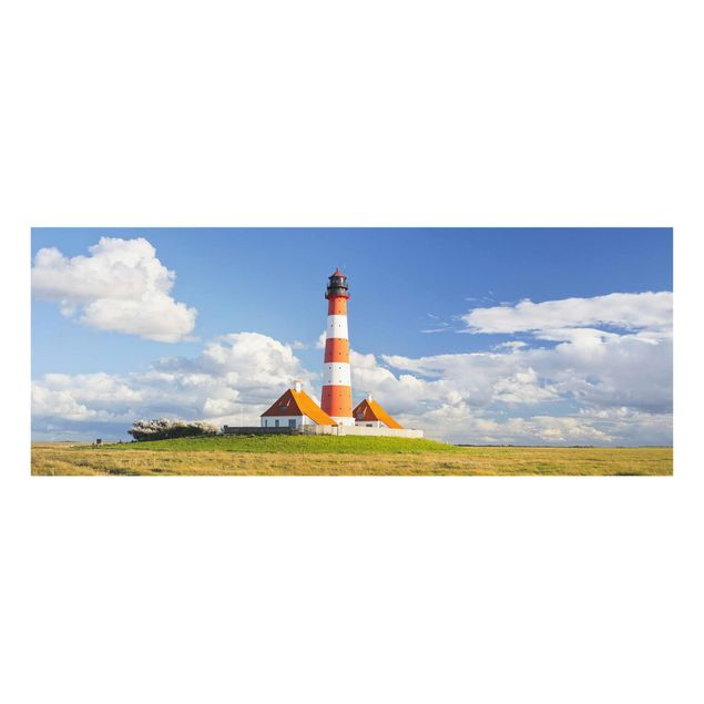 Produktfoto Glasbild - Leuchtturm in Schleswig-Holstein - Panorama Quer