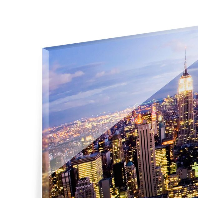 Produktfoto Glasbild - New York Skyline bei Nacht -...