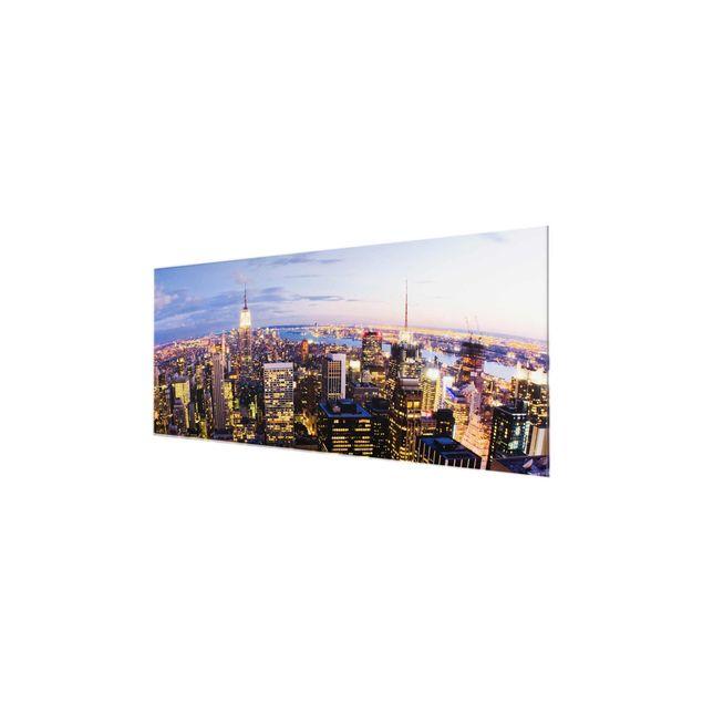Produktfoto Glasbild - New York Skyline bei Nacht - Panorama Quer