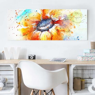 Produktfoto Glasbild - Painted Sunflower - Panorama Quer