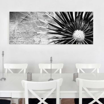Product picture Print on Glass - Dandelion Black & White...