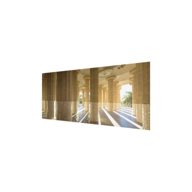 Produktfoto Glasbild - Säulen Lichtspiel Barcelona - Panorama Quer