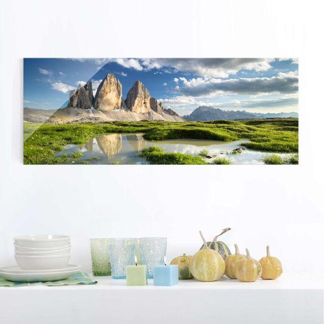 Produktfoto Glasbild - Südtiroler Zinnen und Wasserspiegelung - Panorama Quer
