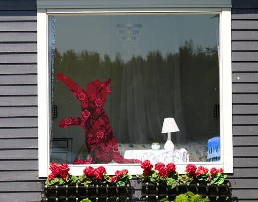 Produktfoto Fensterfolie - Fenstersticker No.IS10 Retro Florale Katze - Fensterbilder