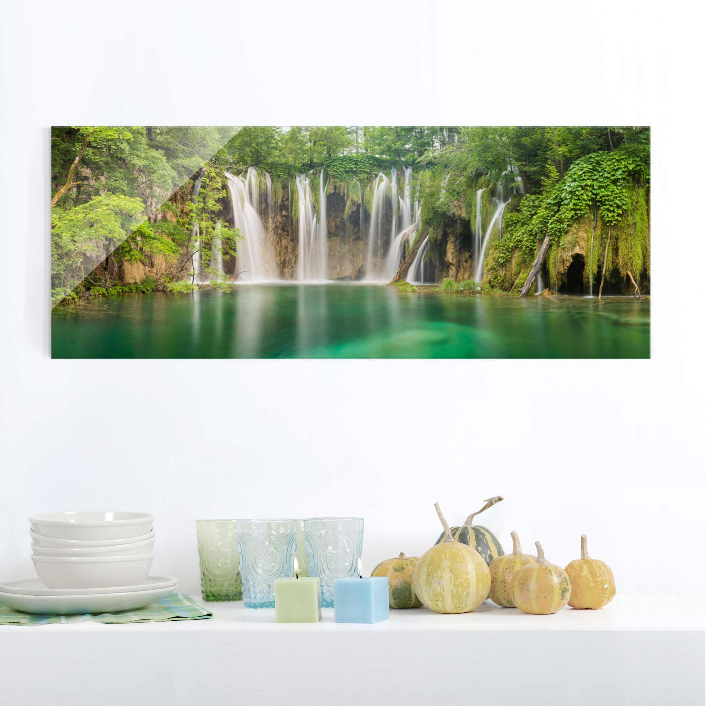 Glasbild - Wasserfall Plitvicer Seen - Panorama Quer