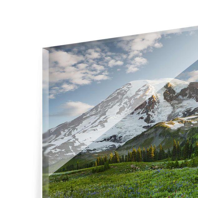 Produktfoto Glasbild - Bergblick Wiesenpfad - Quer...