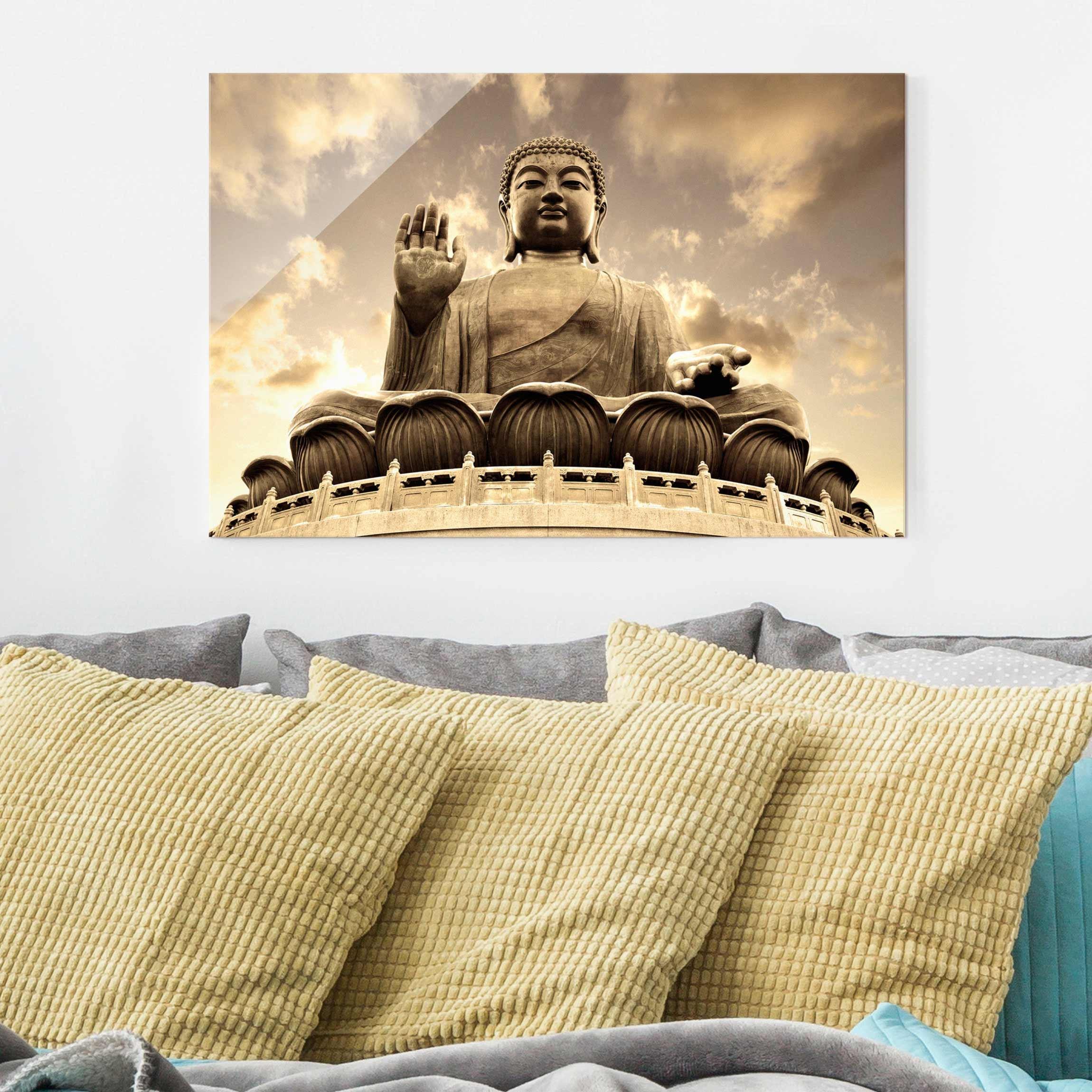 Glass Print - Big Buddha Sepia - Glass Wall Art Landscape Format 2:3