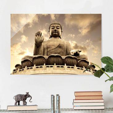 Produktfoto Glasbild - Großer Buddha Sepia - Quer...