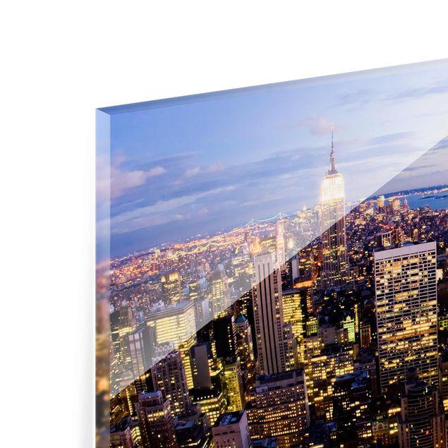 Produktfoto Glasbild - New York Skyline bei Nacht - Quer 2:3