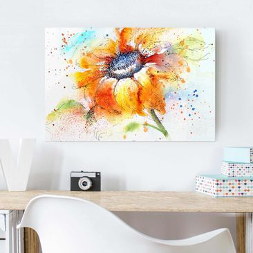 Produktfoto Glasbild - Painted Sunflower - Quer 2:3