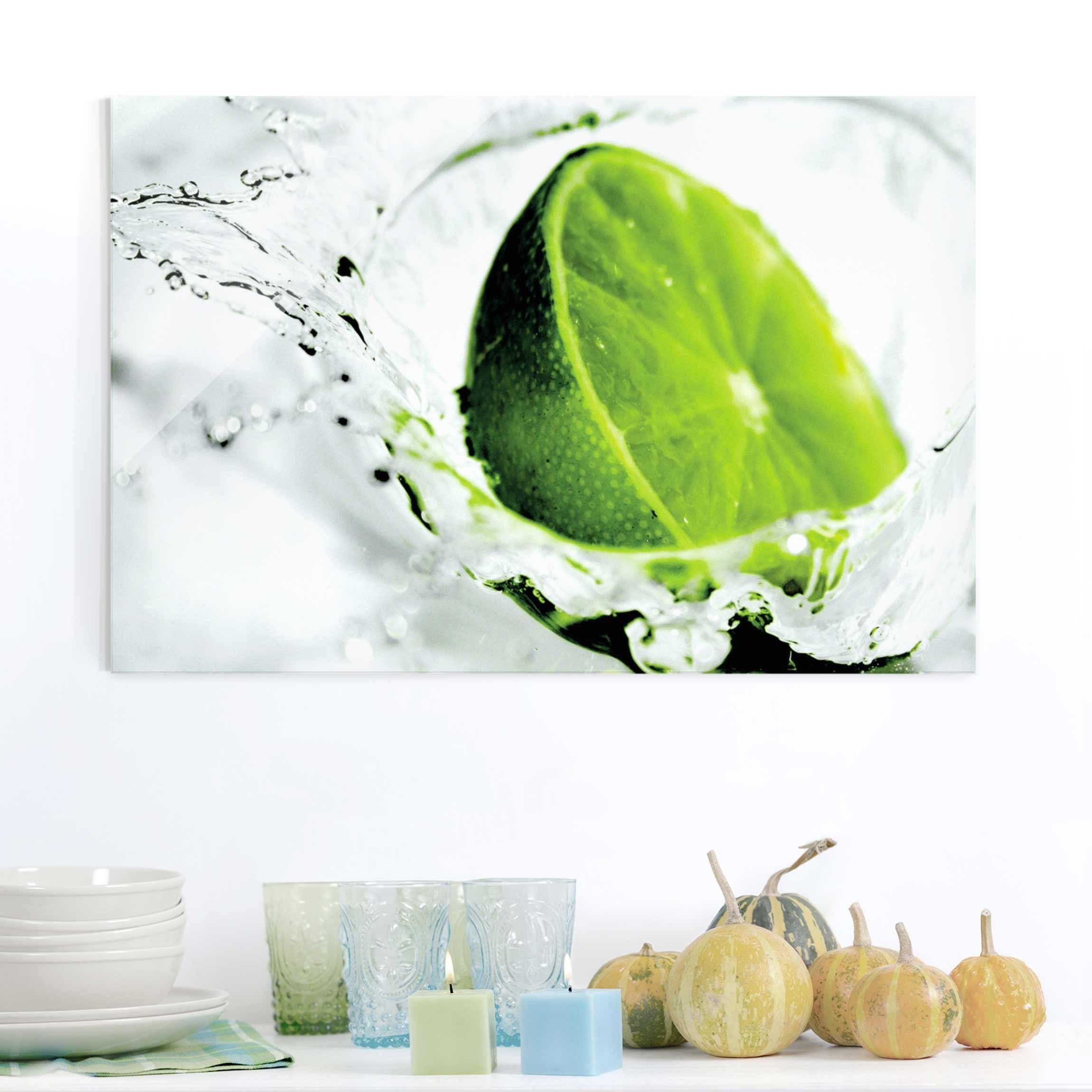 Glasbild Küche - Splash Lime - Quer 2:3