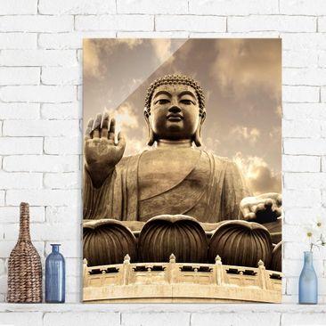 Produktfoto Glasbild - Großer Buddha Sepia - Hoch...