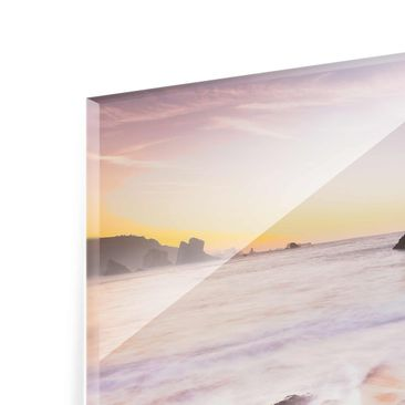 Product picture Glass Print - Spanish beach at sunrise -...