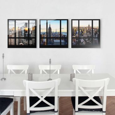 Immagine del prodotto Stampa su vetro - New York Skyline - Window views of New York - 3 parti