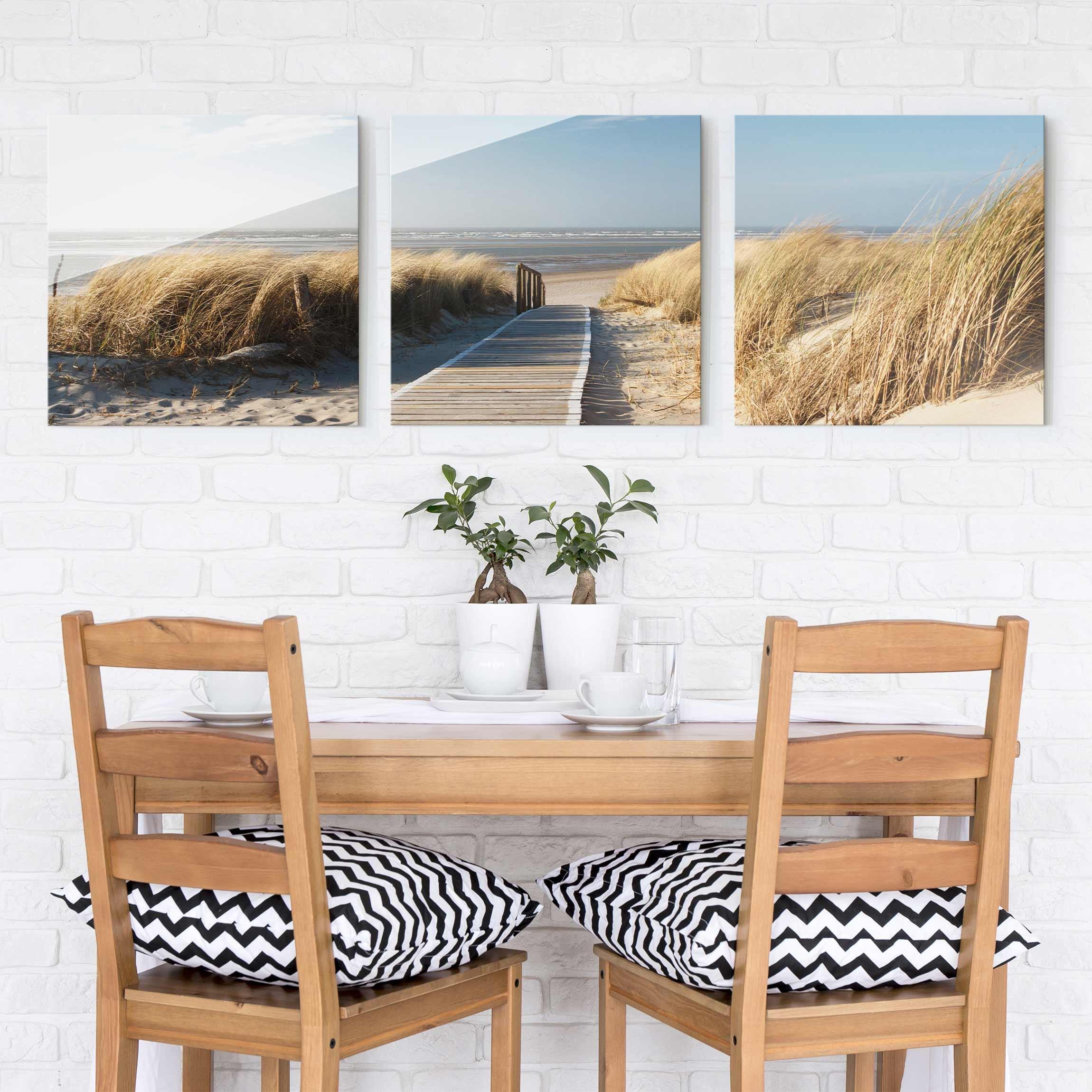 glasbild mehrteilig ostsee strand 3 teilig waldbild glas. Black Bedroom Furniture Sets. Home Design Ideas