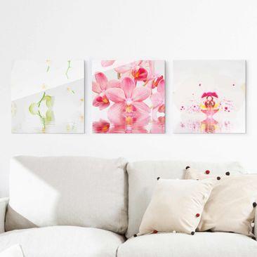 Produktfoto Glasbild mehrteilig - Orchideen auf...