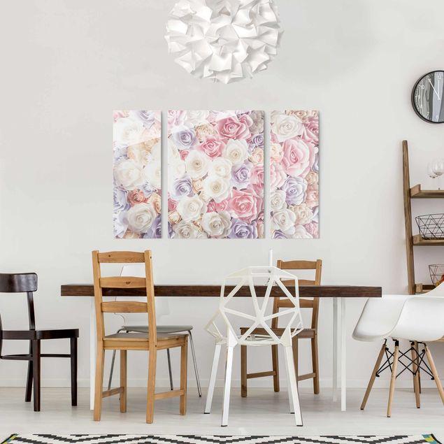 Produktfoto Glasbild mehrteilig - Pastell Paper Art Rosen 3-teilig
